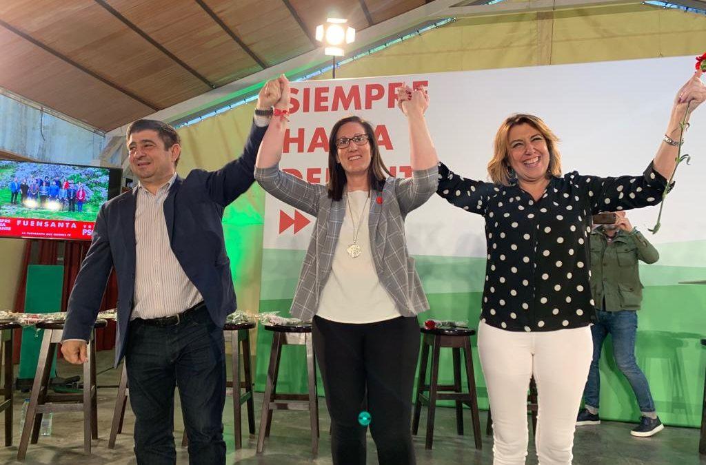 Susana Díaz pide una amplísima mayoría para que Paqui Molina «pueda seguir transformando Fuensanta»