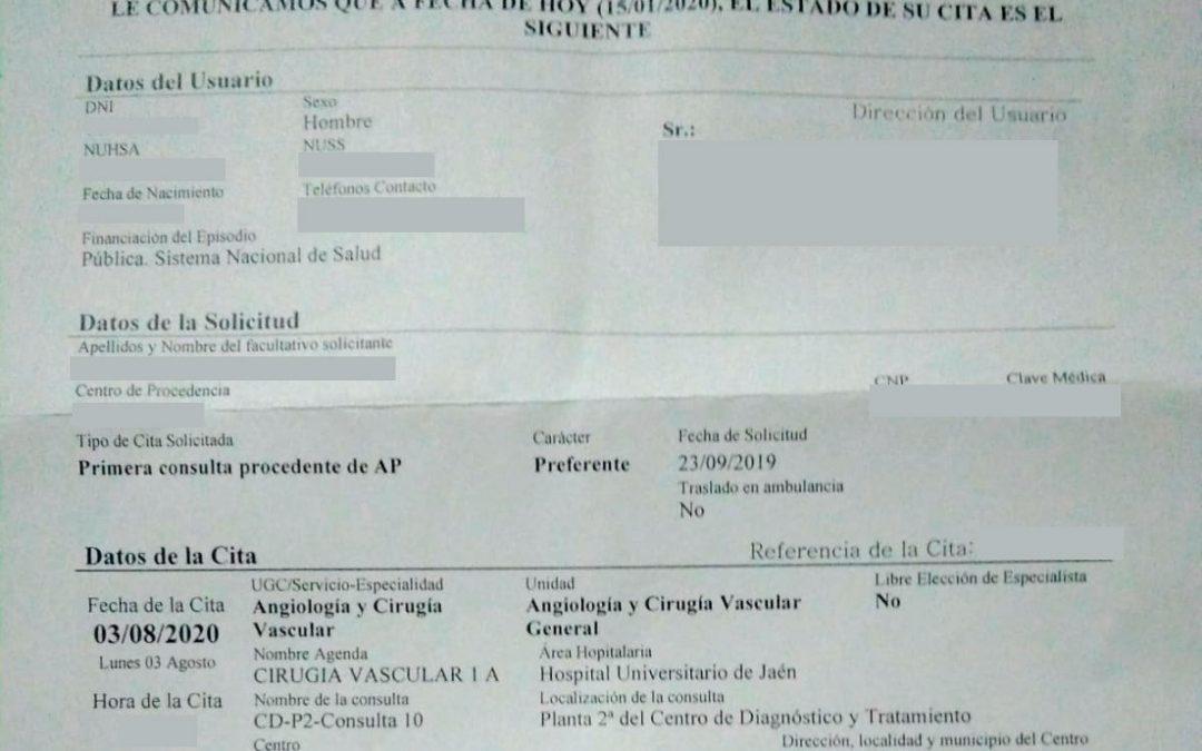 La Junta de derechas da cita para dentro de un año a un paciente con trombosis