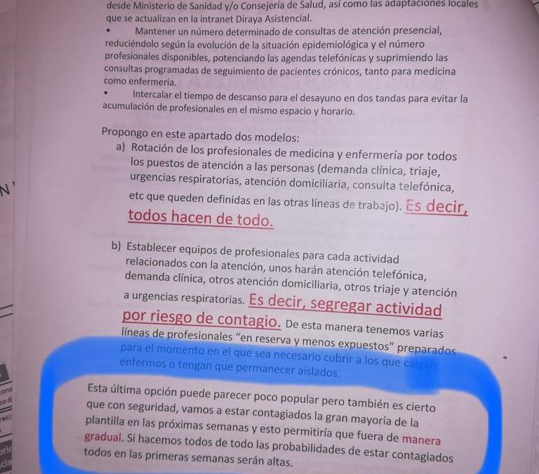 """Nuevo escándalo en el Distrito Jaén-Jaén Sur: La Junta envió un plan de contingencia donde anticipaba a los profesionales que iban a contagiarse """"en su gran mayoría"""""""